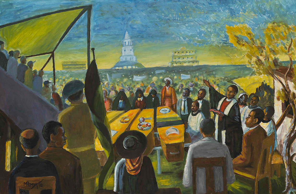 Bisho Massacre Funeral by George Pemba, oil on board