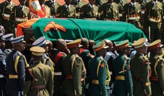 The Casket with the late president Michael Sata arrives at the Heroes Stadium in Lusaka for his state funeral.