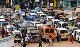 C8C244 View of the main 'stage' or minibus terminal, Thika, Kenya.
