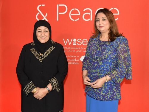 Dr Sakena Yacoobi, 2015-2016 WISE Prize for Education Laureate and Ms Ouided Bouchamaoui, a representative of the Tunisian National Dialogue Quartet, 2015 Nobel Peace Prize Laureate, at the WISE Tunis Forum, May 26, 2016 (PRNewsFoto/WISE)