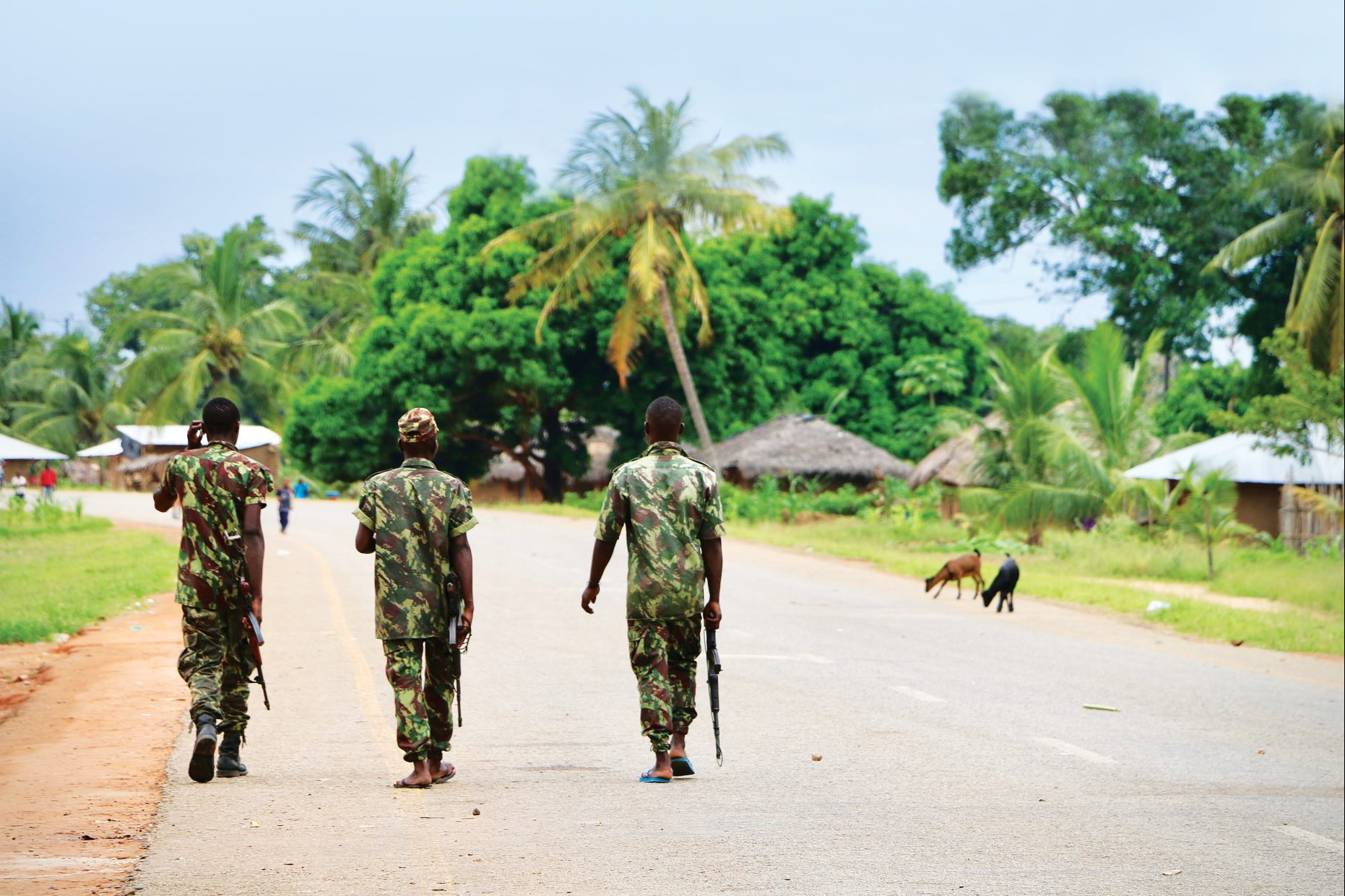 Soldiers patrol the streets of Mocimboa da Praia, Mozambique. after security was increased, following a two-day attack from suspected Islamist terrorists.