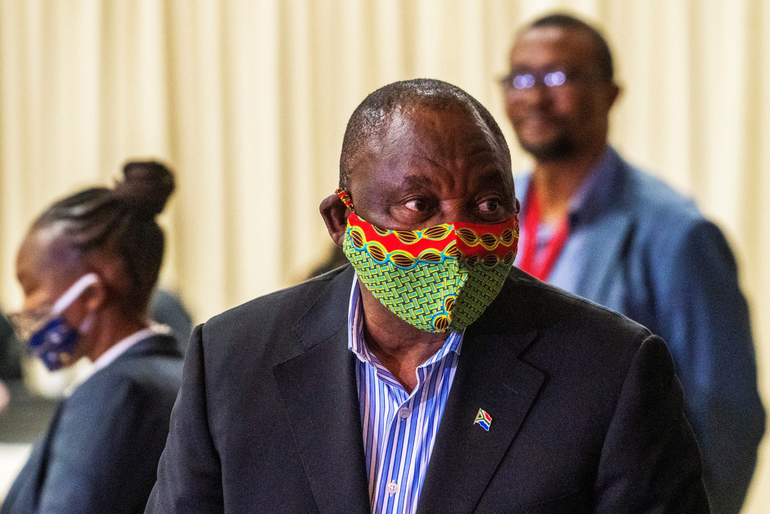 South African President Cyril Ramaphosa arrives at NASREC Expo Centre in Johannesburg on April 24, 2020.